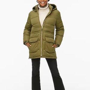 New J.Crew green zip up puffer coat hooded